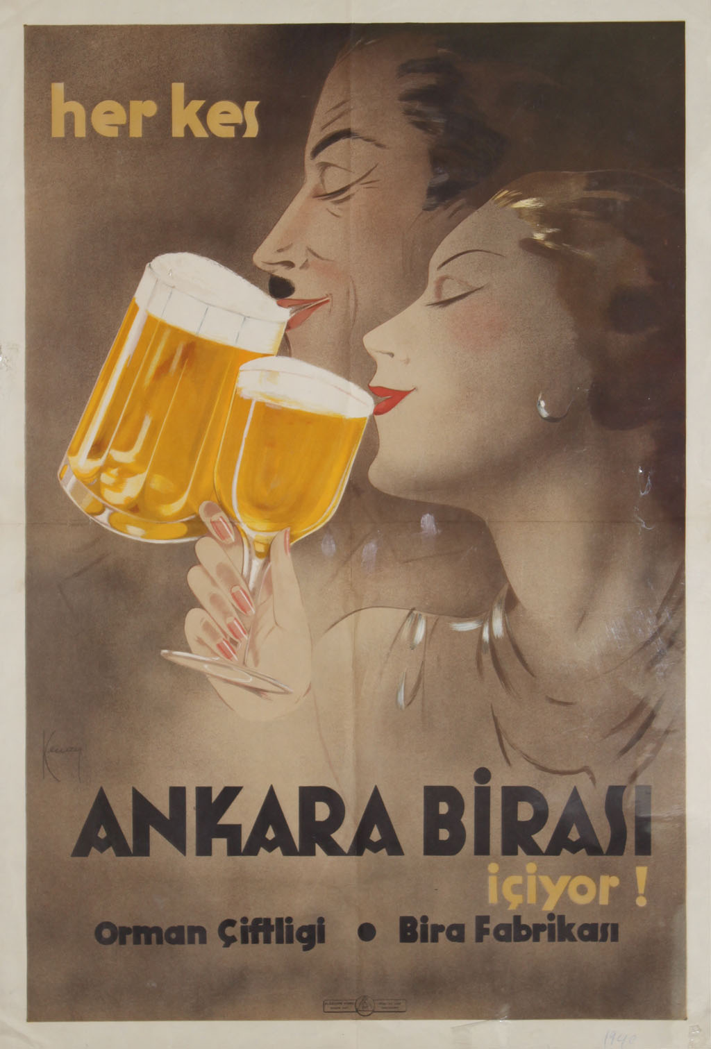 Ankara Birası reklam afişi, 1930'lar.