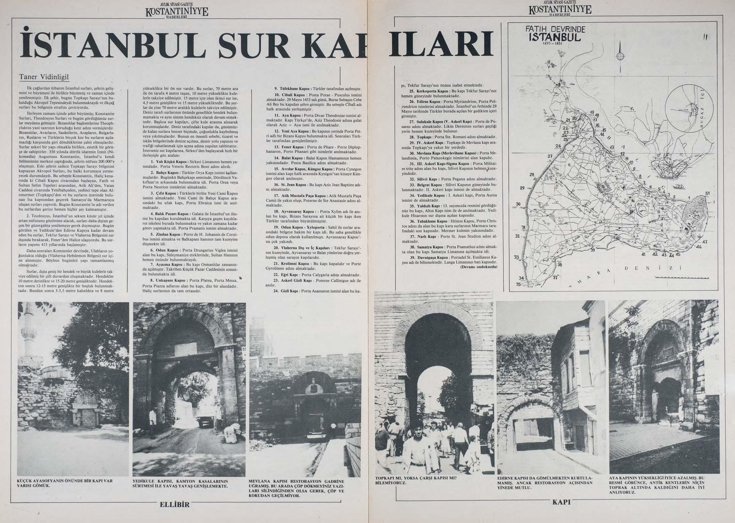 Kostantıniyye Haberleri Gazetesi İstanbul Sur Kapıları