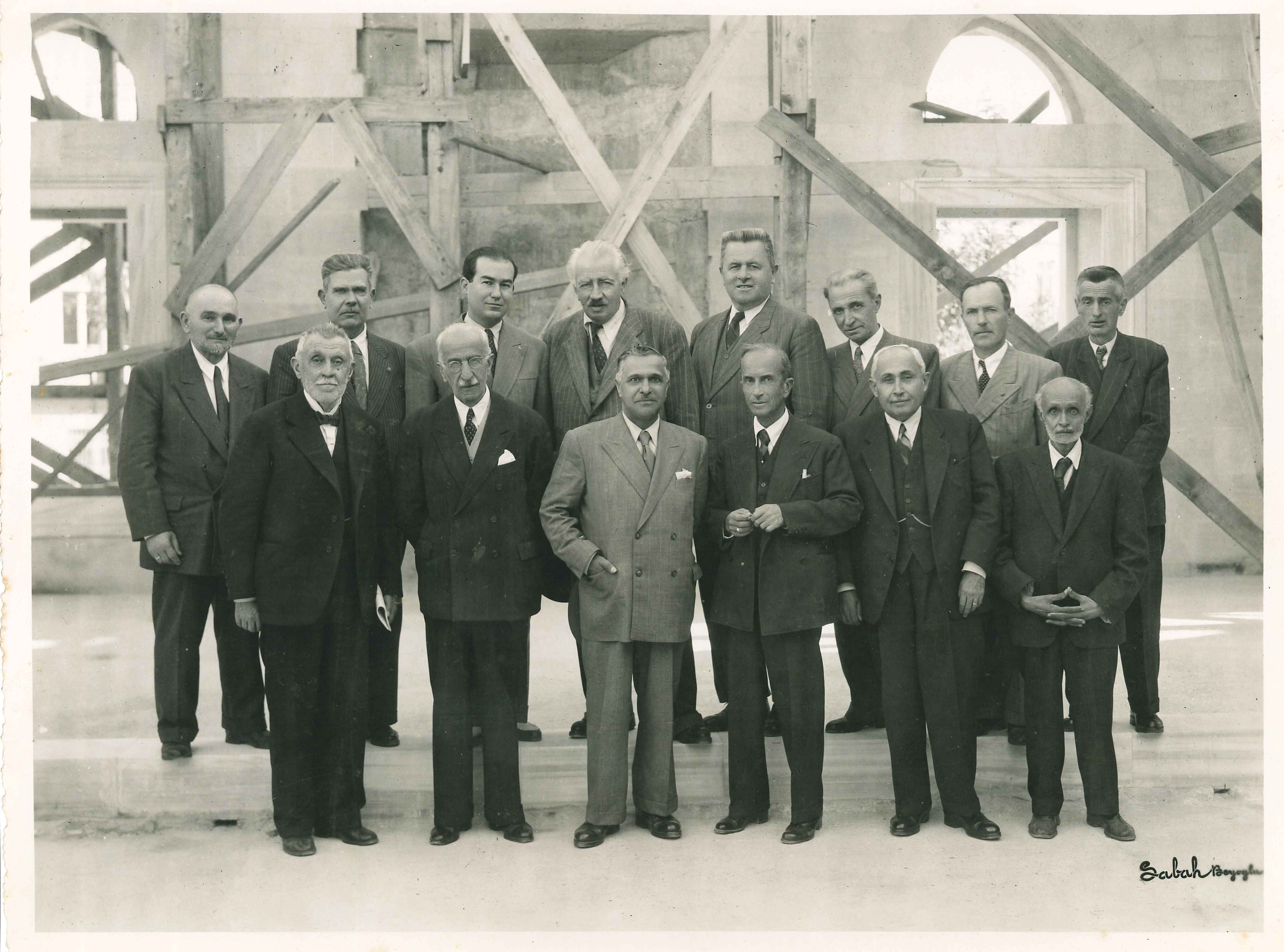 Vasfi Egeli and others involved in the construction of the mosque
