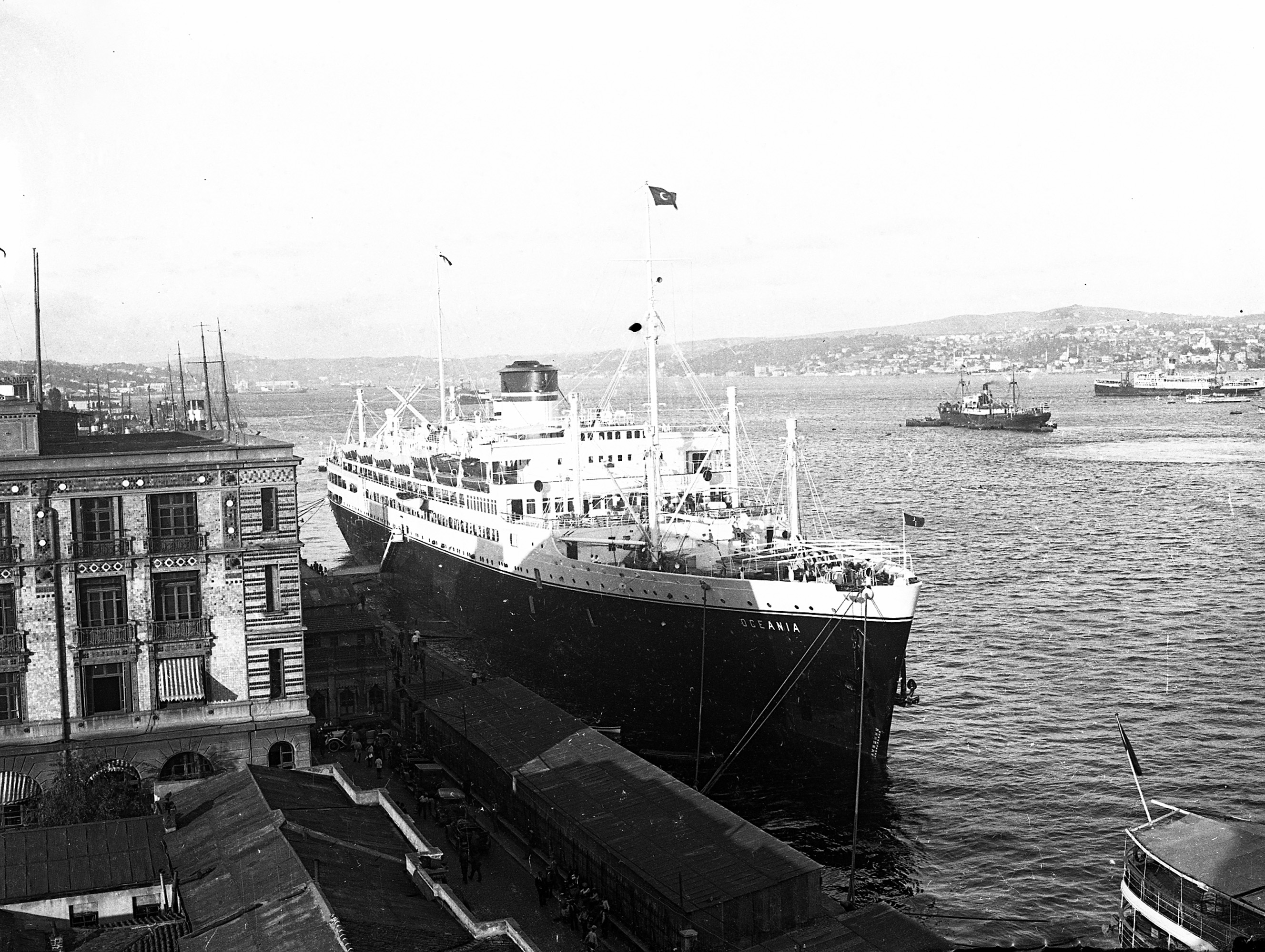 Oceania cruise ship at Karaköy pier.