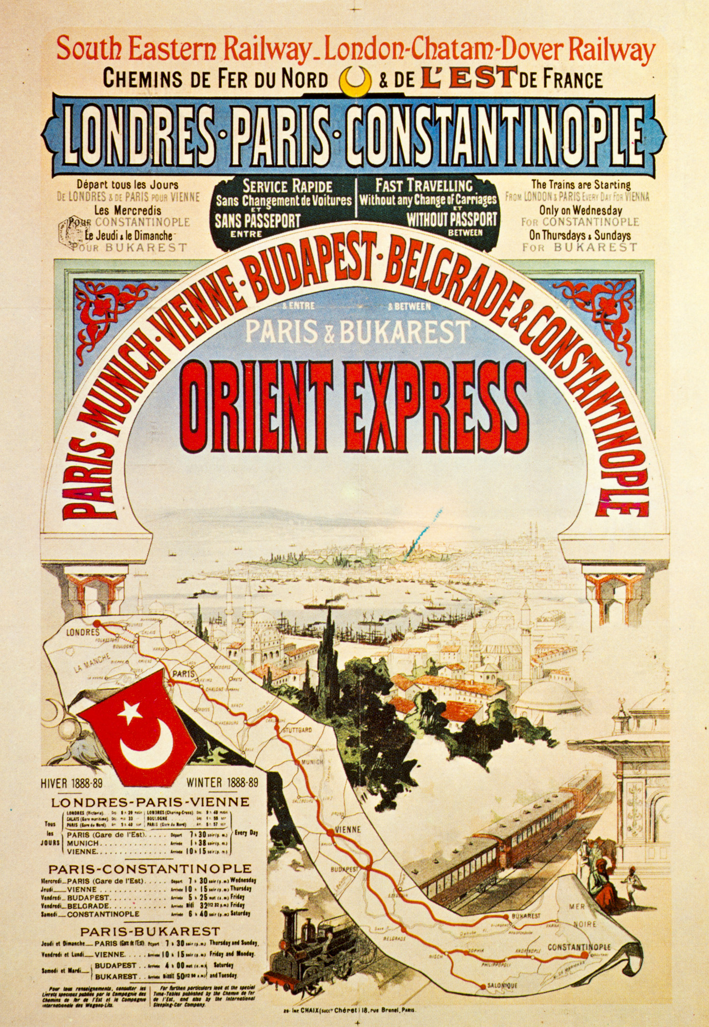 Postcard of the Orient-Express.