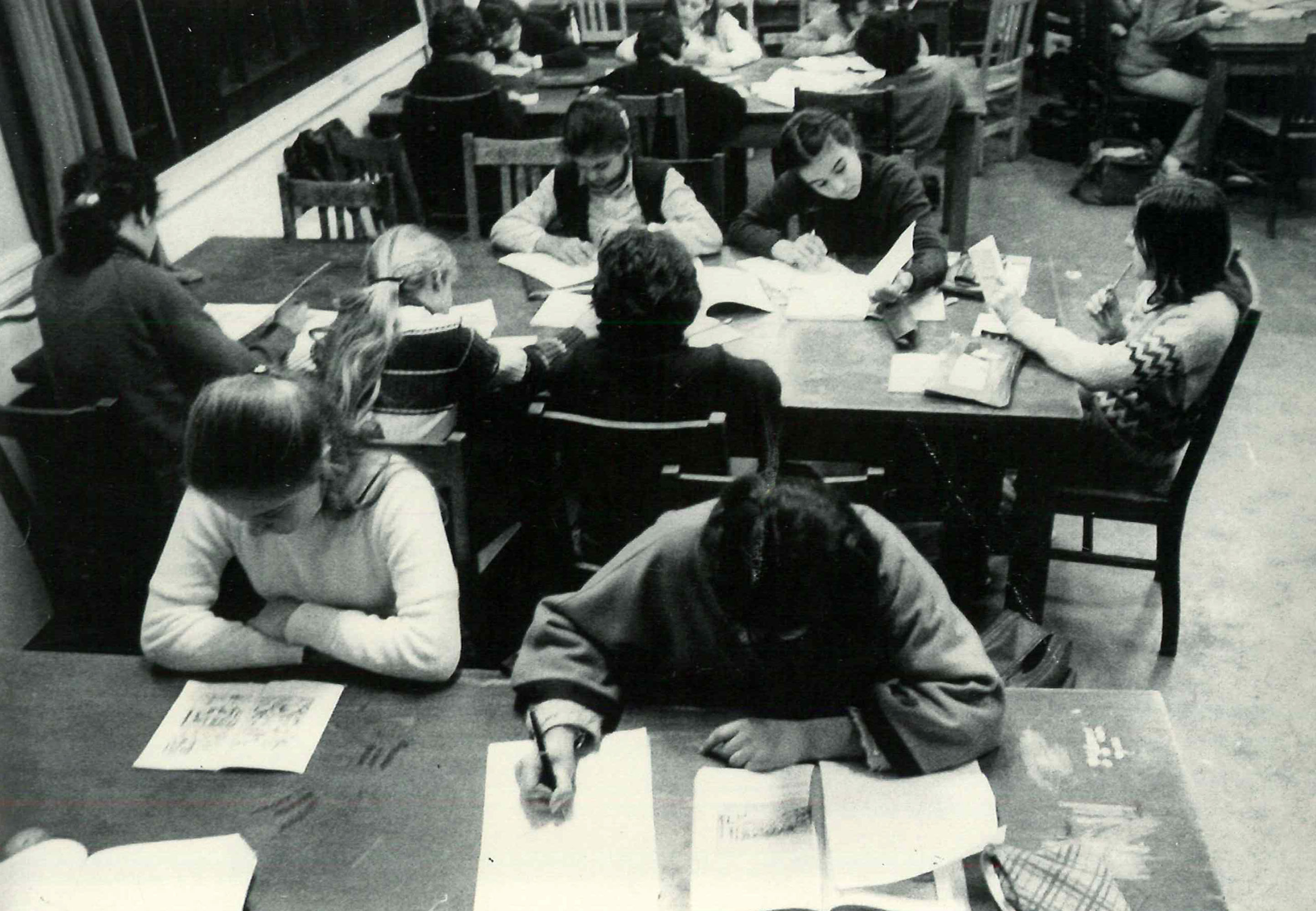 Study Hall at the Girls Dormitory, 1980s.