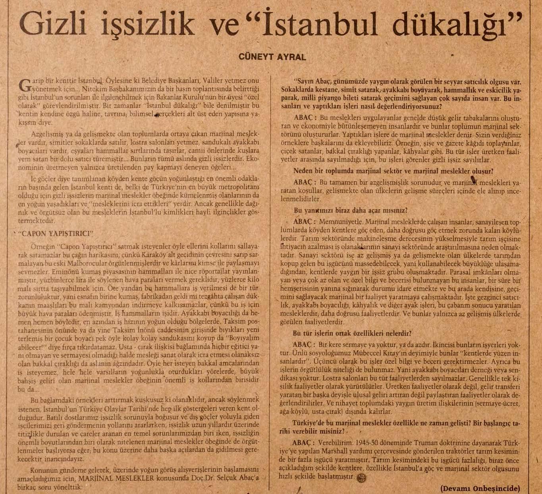 gizli işsizlik ve istanbul dükalığı